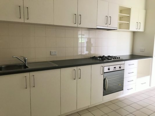 tiled kitchen with oven